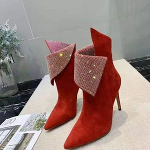 crystals design women wedding ankle boots suede fashion female dress party high heeled boots sexy ladies prom pointed toe short boots mujers