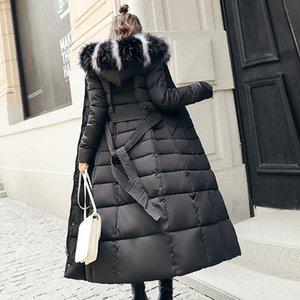 Fanmuer 2019 Winter Long Thick Parka пальто женщин Мода Тонкий хлопок проложенный меховой воротник Outwear теплая куртка