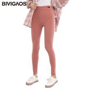 BIVIGAOS coréenne leggings colorés entraînement Femmes Mode Pantalon élastique Crayon chaud velours Printemps Automne Sport Leggings Taille Plus 0927