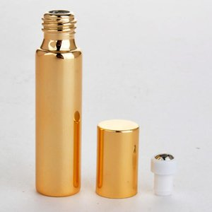 10ML Black Gold Silver UV Glass Refillable Empty Perfume Bottles With Metal Roller Ball Essential oil Cosmetic Bottle