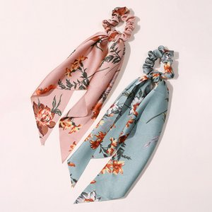 2020 New Chiffon Silk Bow Long Scrunchies For Women Ribbon Ponytail Holder Hair Tie Hair Bands Scarf Women Hair Accessories