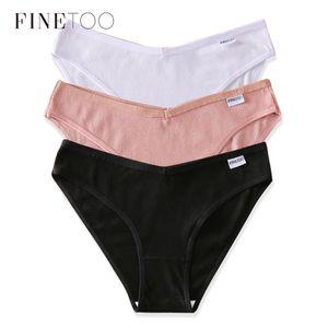 FINETOO M-2XL Frauen Baumwolschlüpfer Mode Letter V Taille Unterhos Flachbauten Weibliche Unterwäsche Mädchen Bequeme Briefs Dessous