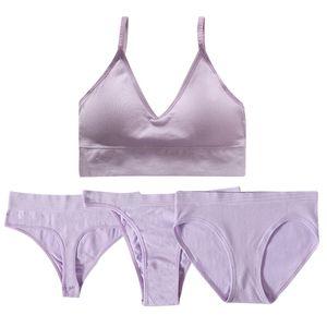 Forma de la parte trasera Mujeres Active Top Sexy Lencería Mujer Push Up Panties Set Ropa interior G-String Thongs Bra Brassiere
