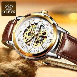OLEVS MENS Relojes Top Marca de lujo Automático Mecánico Hight Quality Relk Gold Watch Men 0924