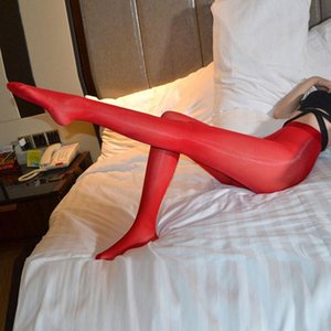 912 PIN Oil Shiny Sexy Women Stockings Smooth Open Crotch Sexy Tight Sheer See Through Shaping Pantyhose Candy Color Plus Size