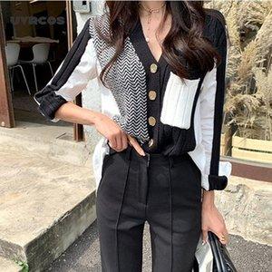 UVRCOS Patchwork Gestrickte Strickjacke Cropped Pullover Koreaner Stil Frauen1