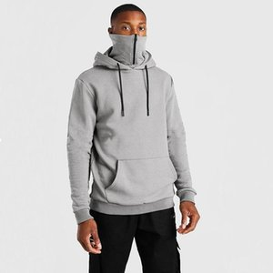 Sweatshirts New Hot Hoodies Clothing Hooded Mask Zipper Casual Men's Winter Solid Sale Plus Velvet Men's Color Streetwear Warm Eqmbm