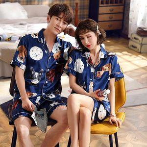 FZSLCYIYI Couple Print Cat Dog Short Sleeve Shorts Pajama Sets Silk Satin Pijamas Sleepwear Home Suit Pyjama Lovers' Clothes