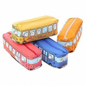 Bonito School Bus caixa de lápis, de grande capacidade Canvas Car Bag Lápis, Laranja, Vermelho, Amarelo, azul disponível material escolar Aprendizagem UeNS #
