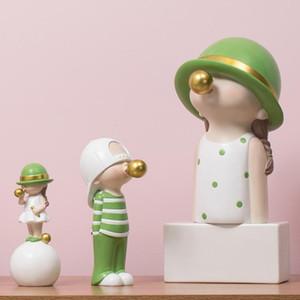 ARTLOVIN Nordic Style de caractère Figurines Modèle Enfants Blowing Bubble Gum Statue For Living Room Decoration Moderne Décoration