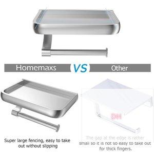 Tenedor de papel higiénico de montaje en pared HomemAxs Soporte de papel de papel de aluminio Dispensador de rollo de inodoro con estante de almacenamiento de teléfono para baño HWF4852