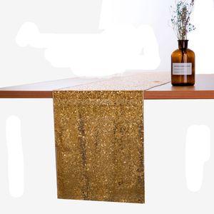 لوازم الجدول القماش البوليستر الصلبة لون الجدول عداء ذهبية فضية الترتر سباركلي بلينغ حفل زفاف مفرش المائدة الديكور VT1812