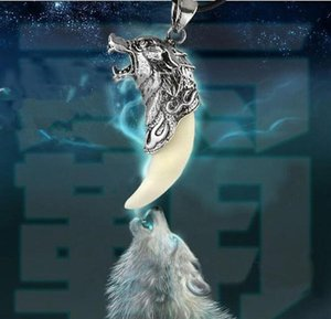 Men Antique Silver Tribal Stark Wolf Fang Tooth Pendant Necklace Vintage Wolf Tooth Dragon Alloy Pendant Necklace jewelry