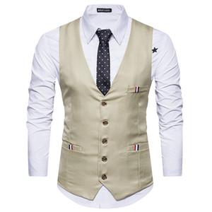Fashion British style men's suit vest multi-pocket business wear business casual V-neck M24