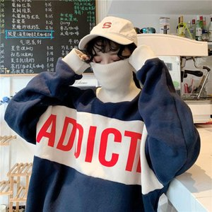 Hoodies Women Fleece Turtleneck Letter Print Sweatshirt Harajuku Female Oversize Korean Ulzzang Long Sleeve Tops