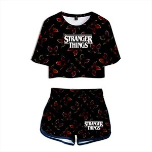 Summer Womens Sets Stranger Things 3 3D Printed Short Sleeve Crop Top Shorts Sweat Suits Women Tracksuits Two Piece Outfit