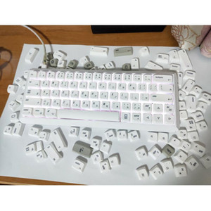 Pure White Color Retro Style PBT Keycaps For Cherry Switch Mechanical Gaming Keyboard Sublimation NP Profile Replace Key Caps