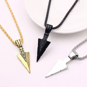 Men's Design Matte Black Long Necklace with Arrow Pendant Jewelry Chain Hip Hop Punk Rock Christmas Halloween Gift For Men Wome