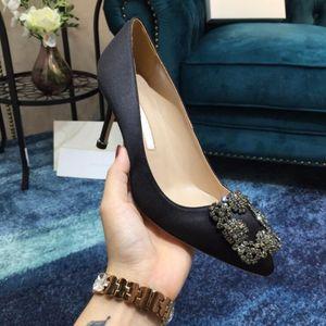2020 zapatos de la boda del partido de diseño de alta calidad de los zapatos de vestir de la manera atractiva de las señoras de novia sandalias Glitter punta estrecha de los altos talones del cuero