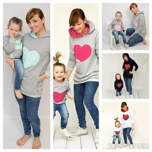 Parent-child Sequined Hoodies for Kids Adults Hooded Sweater Heart Sequins Pullover Sweater Mom Baby Hoodie Blouse Women Sweatshirts G11808