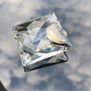75mm quadrado cristal chandelier lâmpada perfurada peças de prism soltar diy pingente decoração suncatcher haning ornamento h bbyjiy