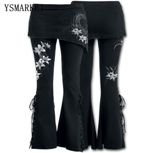 Ysmarket S-5XL Donne 2 in 1 Boot Taglia i leggings Plus Size Micro Slant Skirt Pants Gothic Punk Lace Up Bell Leggings Bottom E22045 201104