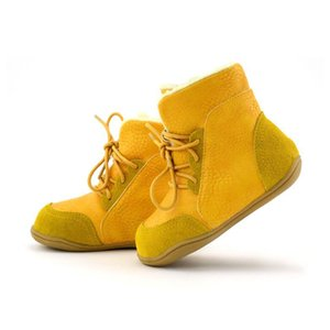 male Genuine snow leather medium-leg slip-resistant child boots female cotton-padded shoes soft outsole