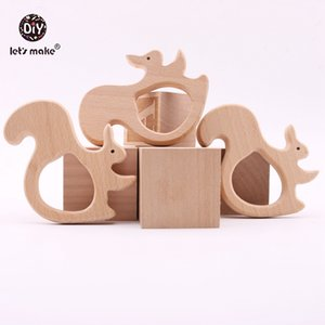 Let's Make Wooden Squirrel 10PC Baby Teether Toys DIY Jewelry Teething Accessories Car Seat Toy Wooden Nursing Pendant Teether 201019