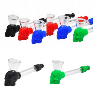 Glass Tube Smoking Pipe Silicone Skulls Delicate Personality Compact Smooth Mini Portable Detachable Pipes New Pattern 4nt F2