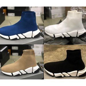 Ultima velocità 2.0 Sneaker Mens Sock Sock Trainer Designer Designer Stretch Sunk Shoes Black Tan 12 Colori Scarpe casual Scarpe da corridori con scatola