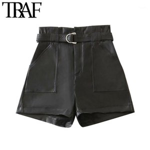 TRAF Women Chic Fashion With Belt Faux Leather Shorts Vitnage High Waist Zipper Pockets Female Short Pants Mujer1