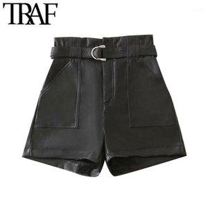TRAF mujeres elegante moda con correa pantalones cortos de piel sintética vitnage cintura alta cremallera bolsillos hembra pantalones cortos mujer1