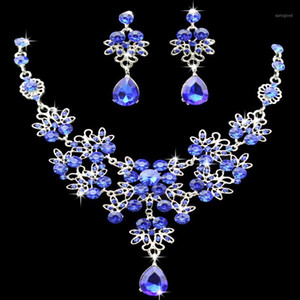 KMVEXO Multiple Colors Water Drop Wedding Bridal Formal Party Prom Jewelry Sets Crystal Rhinestone Brides Necklace Earrings Sets1