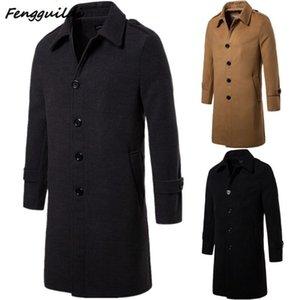 Fengguilai Outwear Fashion Business Casual Jacke Herren Jugend Lang Zweireihig dünne Mantel-Woll Top Trench