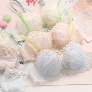 Japan Bra Embroidery Underwear Set Lace Gather Sexy Women Push Up Bra SA01B