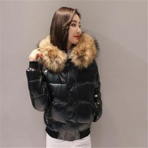 Marka Moda Kadınlar parlak Down Jacket Kış Kadın Elbise Aşağı Coat Real Rakun Kürk Ayrılabilir Yaka Hood Parkas ünlü