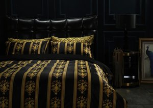 Luxury European Style Gold BlacK Hotel King 5PCS Bedding Set Fashion Bed King Queen Size Duvet Cover Set Brand Design Print Bedding Sets