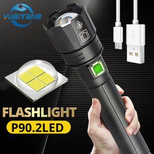 2020 Seller recommend 300000lm XHP90.2 Powerful LED Flashlight zoom torch USB Rechargeable use 18650 26650 battery for outdoor Y200727
