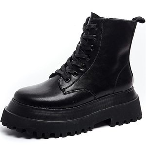 RASMEUP 2020 Genuine Leather Boots Motorcycle Boots For Women Platform Autumn Winter Comfortable Fashion Women Shoes