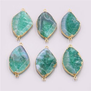 2020 Wholesale druzy connector Natural Brazilian Electroplated Edged Slice green Agates Geode Drusy Druzys Pendants for Necklace