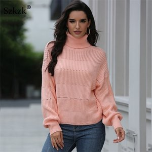 SZKZK Casual Sweot Knit Suéter Top Mujeres Jersey Jersey Puente 2020 Otoño Invierno Manga Larga Turtleneck Sweaters Y200910
