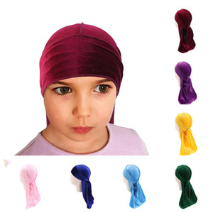 Velvet Durag For Children Long Tail Headwrap Kids Dorag Durags Turban Wigs Pirate Caps Headscarf Hip Hop Hats Hair Cover Accessories GG12209