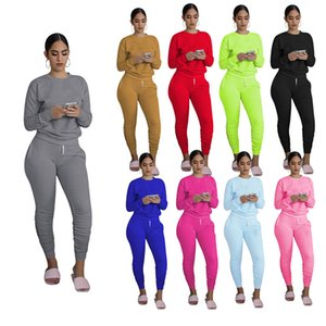 womens two piece set tracksuit Tops pants outfits long sleeve sportswear shirt trousers sweatsuit pullover tights sportswear hot klw0557