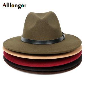 HOT 2020 Autumn Winter Black Men Wool Fedora Hat Wide Brim Women Faux Woolen Ladies Fedoras Jazz Hat Belt Caps Bowler Felt Hats Q1216 Y0910