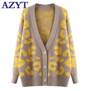Azyt Mulheres Leopard Imprimir V Neck Sweater Cardigan Cardigan Loose Feminino Feminino Knitshirt Jacket Outono Casual Casaco curto Y200915