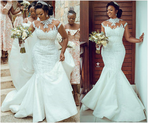 2020 Plus Size Arabic Aso Ebi Luxurious Lace Beaded Wedding Dresses Mermaid High Neck Bridal Dresses Vintage Sexy Wedding Gowns ZJ833