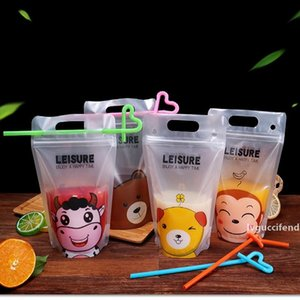 Disposable Beverage Bag Plastic Juice Coffee Liquid Bag Summer Clear Drink Pouch With Straw Party Accessory Tools