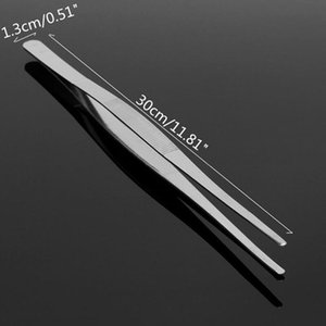 BBQ Food Tweezers Stainless Steel Industrial Toothed Long Straight Tweezer Home Medical Garden Kitchen Barbecue Tool Accessories PPF2473