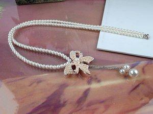 Perlen-Halskette-nachgemachte Perlen-Statement-Bogen-Knoten-Halskette
