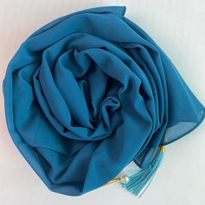 Woman Fashion Chiffon Plain Color Scarf Long Soft Wrap Scarf Shawl Scarves Femme Bufandas With Pearls Hijabs 20 colors1